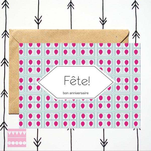 Kaart Fête! roze