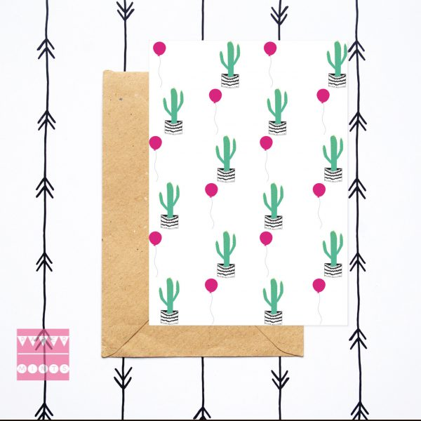 Kaart Cactus en ballon