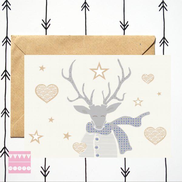 feestdagenkaart Mr Deer Hearts and Stars