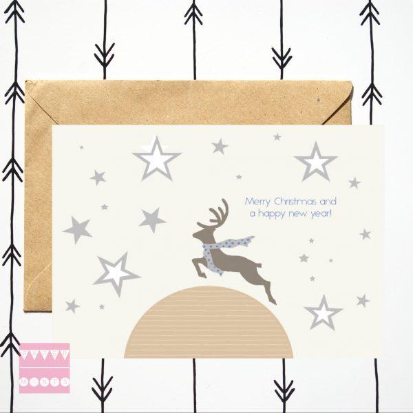 feestdagen kaart Mr Deer over the Moon