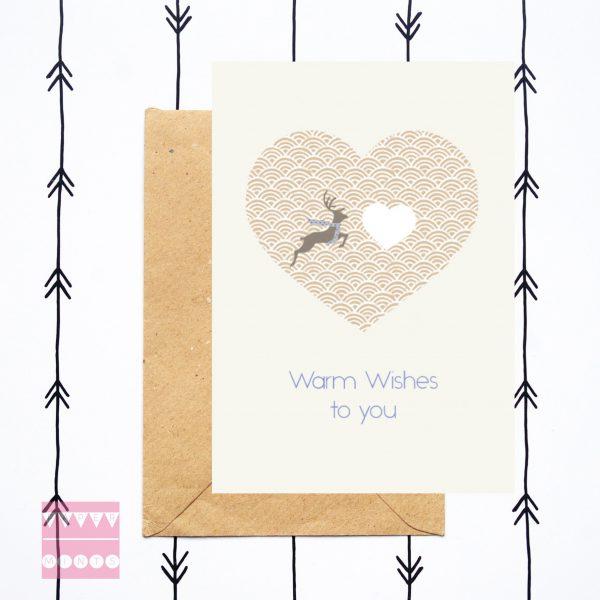feestdagenkaart Mr Deer Warm Wishes