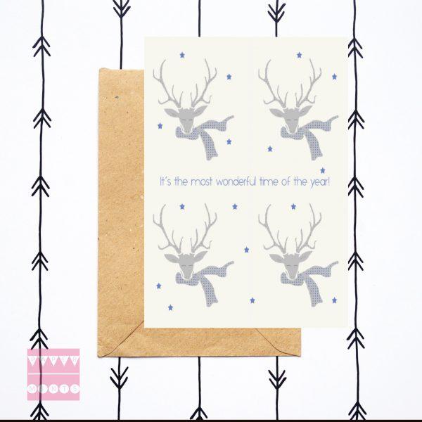 feestdagenkaart Mr Deer Wonderful Time