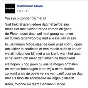 Gedicht voor Bahlman Mode